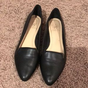 Black Leather Vince Camuto Flats